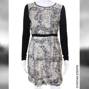 CYNTHIA STEFFE Blk/Wht Circle Sequin LS Silk Dress
